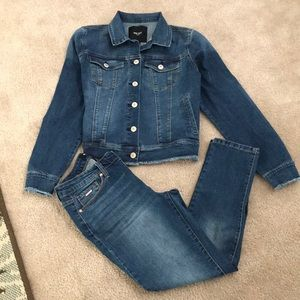 "Nine West Frayed Hem Denim Jacket ""Sarah"""
